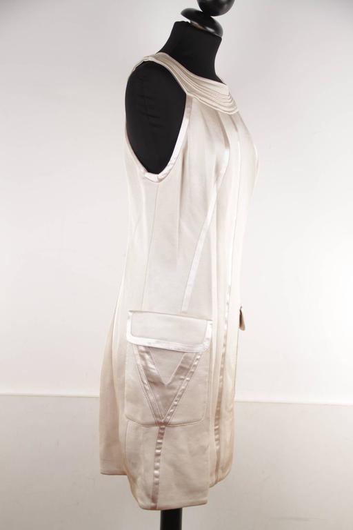 Women's VERSACE Italian Beige HALTER SHIFT DRESS 2006 Fall Collection Sz 42 IT  For Sale