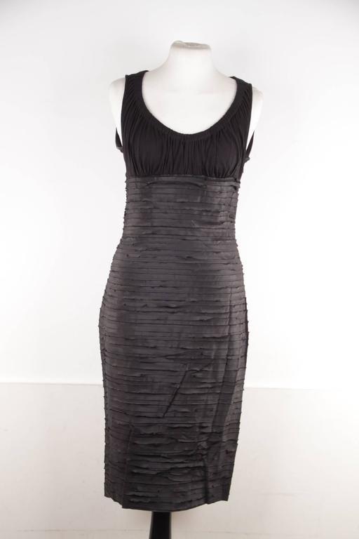 VERSACE Black Viscose & Silk LITTLE BLACK DRESS Sheath SLEEVELESS Sz 40  2