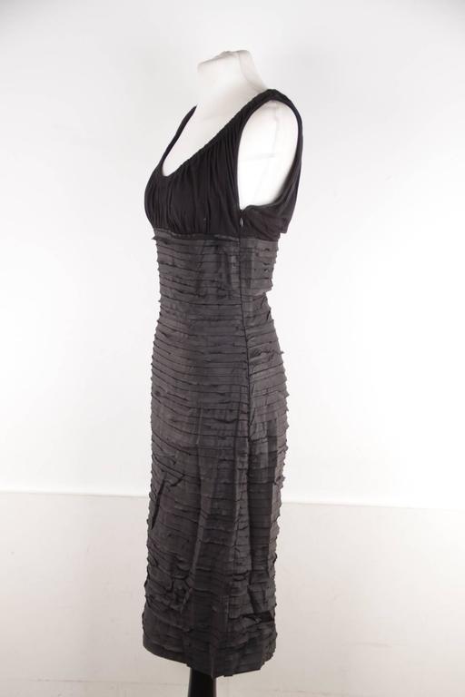 VERSACE Black Viscose & Silk LITTLE BLACK DRESS Sheath SLEEVELESS Sz 40  7