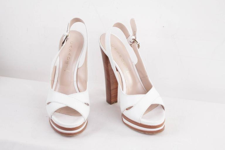 CASADEI White Leather PLATFORM Strappy SANDALS Heels SHOES SZ 10  3
