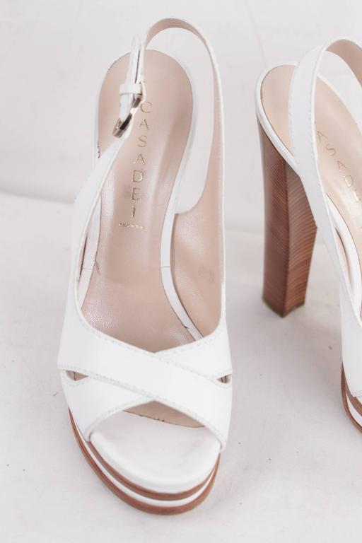 CASADEI White Leather PLATFORM Strappy SANDALS Heels SHOES SZ 10  4