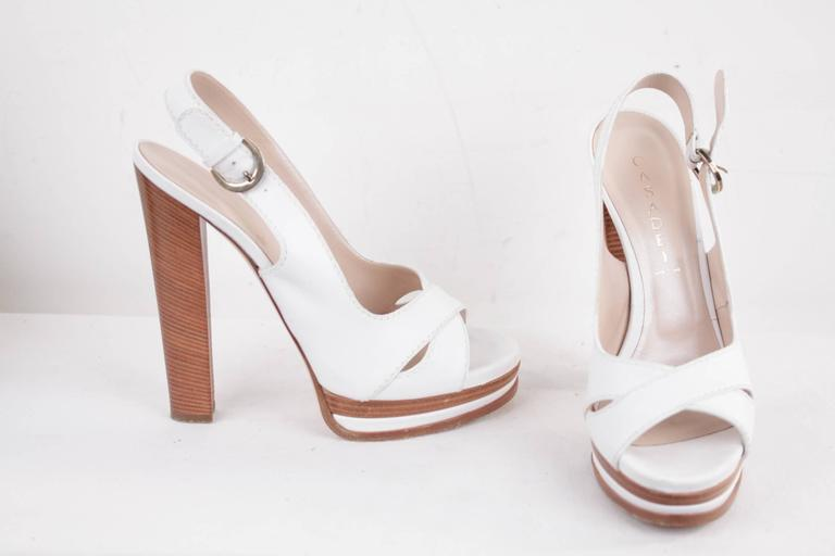 CASADEI White Leather PLATFORM Strappy SANDALS Heels SHOES SZ 10  2