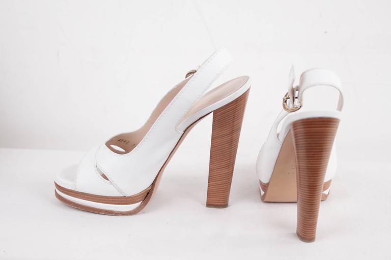 CASADEI White Leather PLATFORM Strappy SANDALS Heels SHOES SZ 10  5