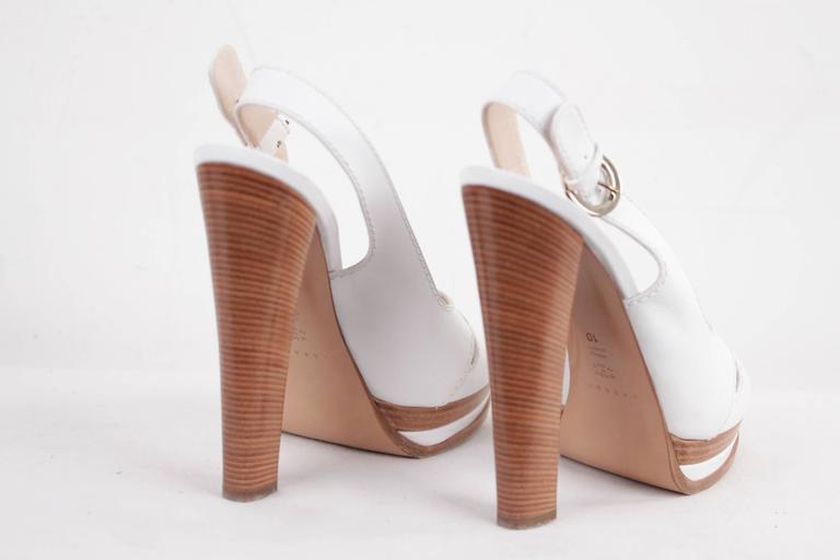 CASADEI White Leather PLATFORM Strappy SANDALS Heels SHOES SZ 10  7