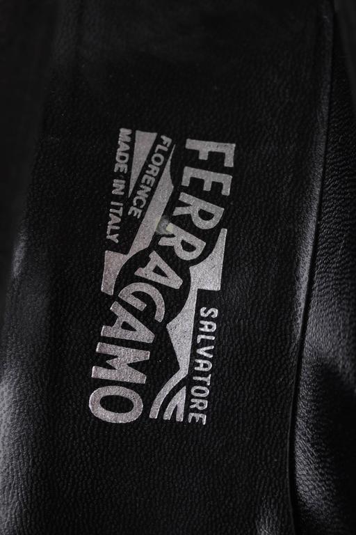 SALVATORE FERRAGAMO Black Suede GANCINO Stick Pin HEELS Pumps SHOES 8 1/2 B 8