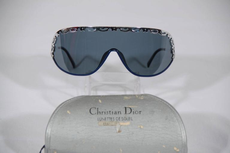 CHRISTIAN DIOR Vintage Shield SUNGLASSES 2501 Blue & Silver Metal eyewear w/CASE 3