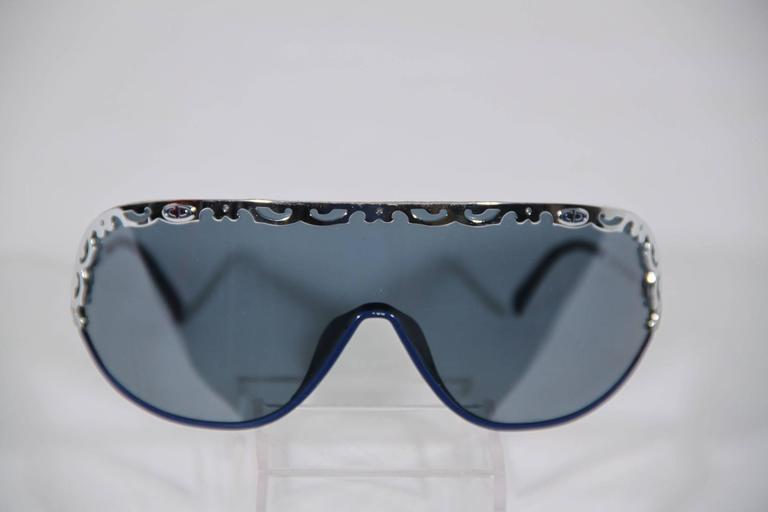 CHRISTIAN DIOR Vintage Shield SUNGLASSES 2501 Blue & Silver Metal eyewear w/CASE 5