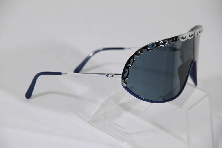 CHRISTIAN DIOR Vintage Shield SUNGLASSES 2501 Blue & Silver Metal eyewear w/CASE 6