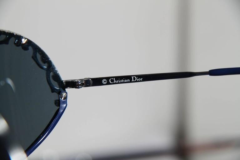 CHRISTIAN DIOR Vintage Shield SUNGLASSES 2501 Blue & Silver Metal eyewear w/CASE 4