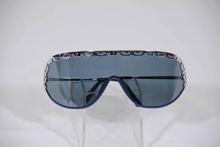 CHRISTIAN DIOR Vintage Shield SUNGLASSES 2501 Blue & Silver Metal eyewear w/CASE 7