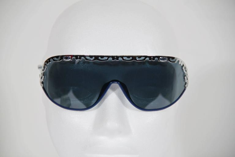 CHRISTIAN DIOR Vintage Shield SUNGLASSES 2501 Blue & Silver Metal eyewear w/CASE 9