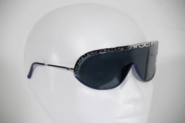 CHRISTIAN DIOR Vintage Shield SUNGLASSES 2501 Blue & Silver Metal eyewear w/CASE 10