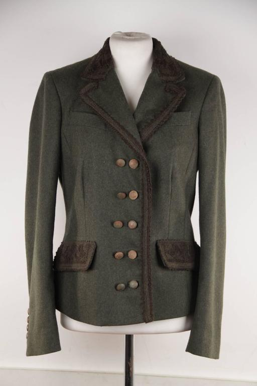 ERMANNO SCERVINO Military Green LODEN Wool Jacket w ...