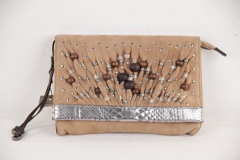 JIMMY CHOO Tan Suede VENUS Bag CLUTCH Handbag PURSE w ...