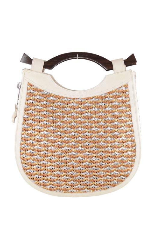 Women's PROENZA SCHOULER Italian Beige Leather & Woven Cord HANDBAG Tote w/ WOOD Handle  For Sale