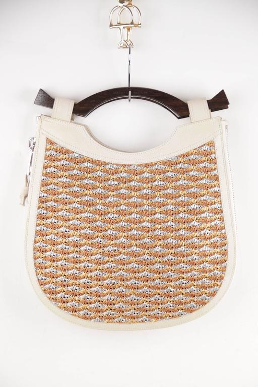 PROENZA SCHOULER Italian Beige Leather & Woven Cord HANDBAG Tote w/ WOOD Handle  In Excellent Condition For Sale In Rome, IT