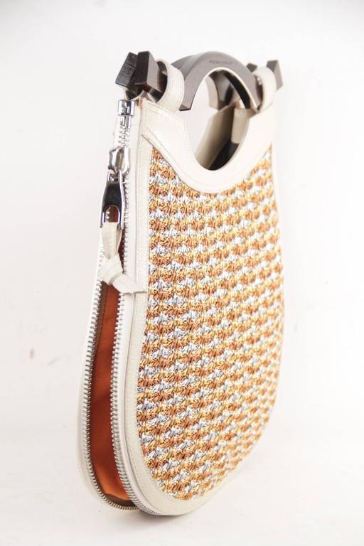 PROENZA SCHOULER Italian Beige Leather & Woven Cord HANDBAG Tote w/ WOOD Handle  For Sale 3