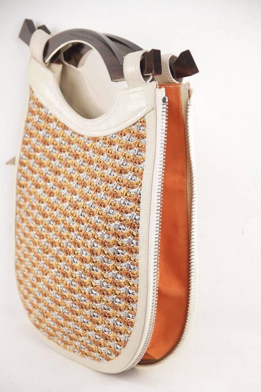 PROENZA SCHOULER Italian Beige Leather & Woven Cord HANDBAG Tote w/ WOOD Handle  For Sale 4