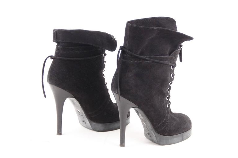 Women's GIUSEPPE ZANOTTI DESIGN Black Suede ANKLE BOOTS Stiletto HEELS Sz 39 For Sale