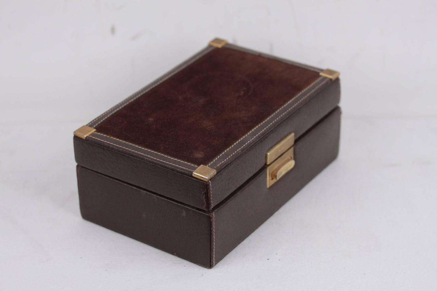 GUCCI Italian VINTAGE Brown Suede and Leather JEWELRY BOX ...