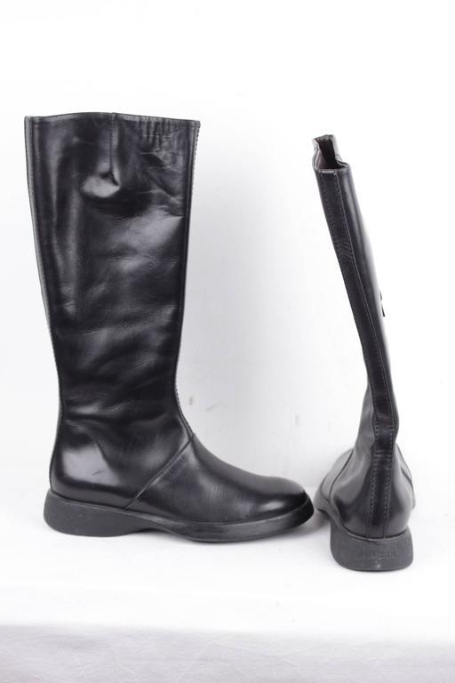 Hogan Italian Black Leather Boots Shoes W Rubber Sole