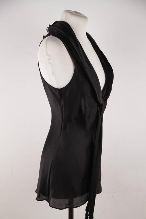 ALEXANDER McQUEEN Black Silk Sleeveless BLOUSE Top w/ TIE NECK Detail 42 IT 5