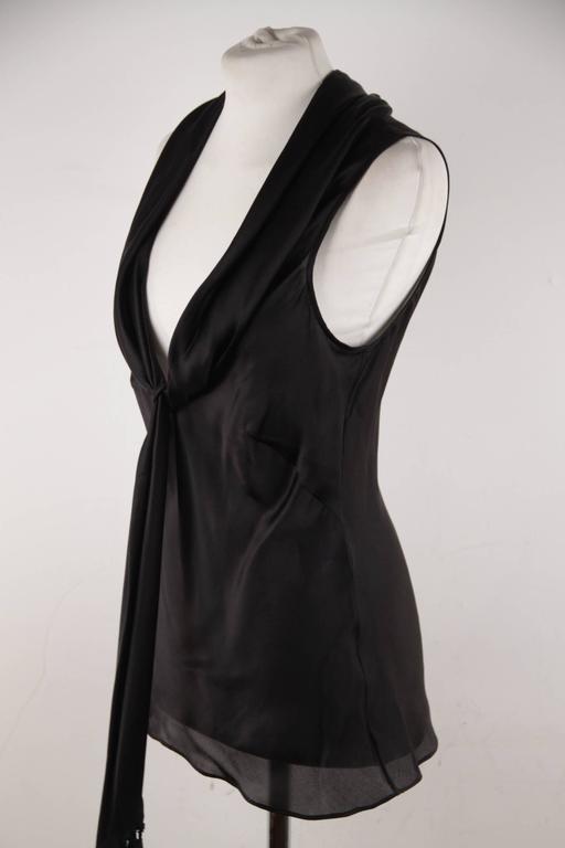 ALEXANDER McQUEEN Black Silk Sleeveless BLOUSE Top w/ TIE NECK Detail 42 IT 3
