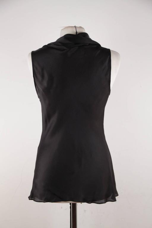 ALEXANDER McQUEEN Black Silk Sleeveless BLOUSE Top w/ TIE NECK Detail 42 IT 4