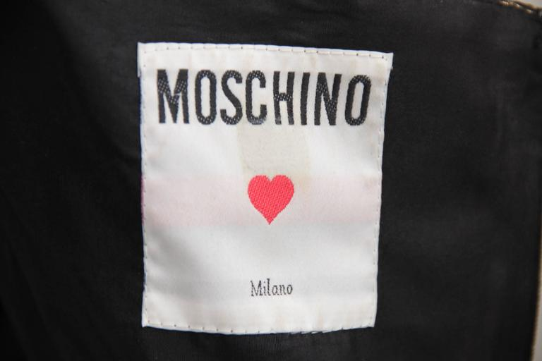 MOSCHINO Italian VINTAGE Golden BUSTIER Bows TOP & Black Leather HOT PANTS 10
