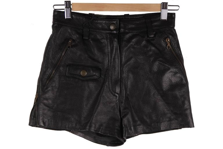 MOSCHINO Italian VINTAGE Golden BUSTIER Bows TOP & Black Leather HOT PANTS 8