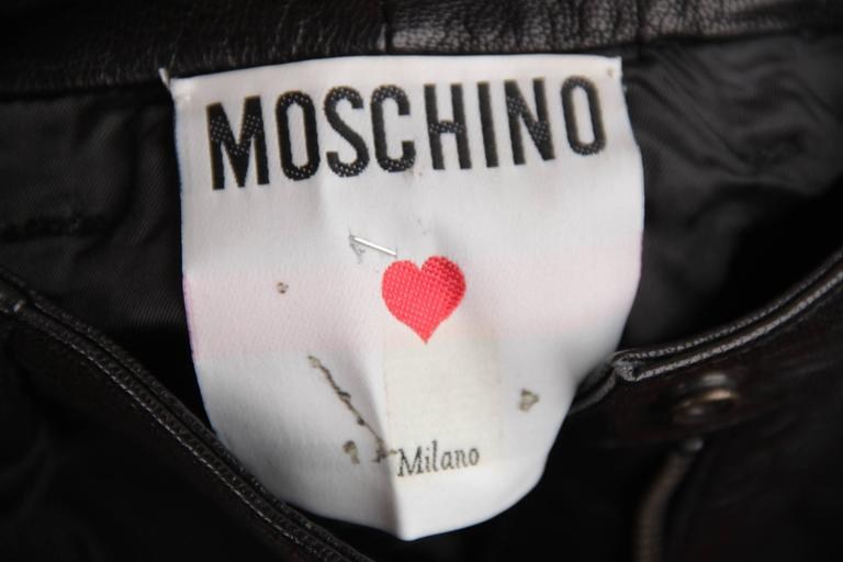 MOSCHINO Italian VINTAGE Golden BUSTIER Bows TOP & Black Leather HOT PANTS 7