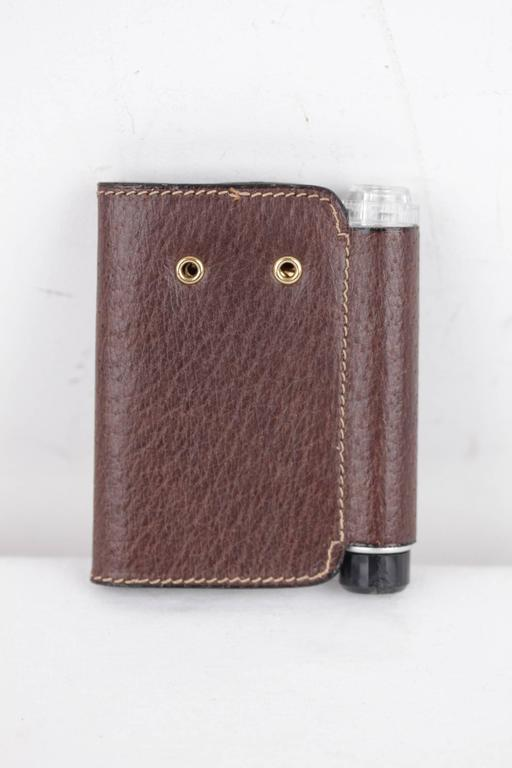 gucci italian vintage brown leather 4 key case holder key ring w   torch light for sale at 1stdibs