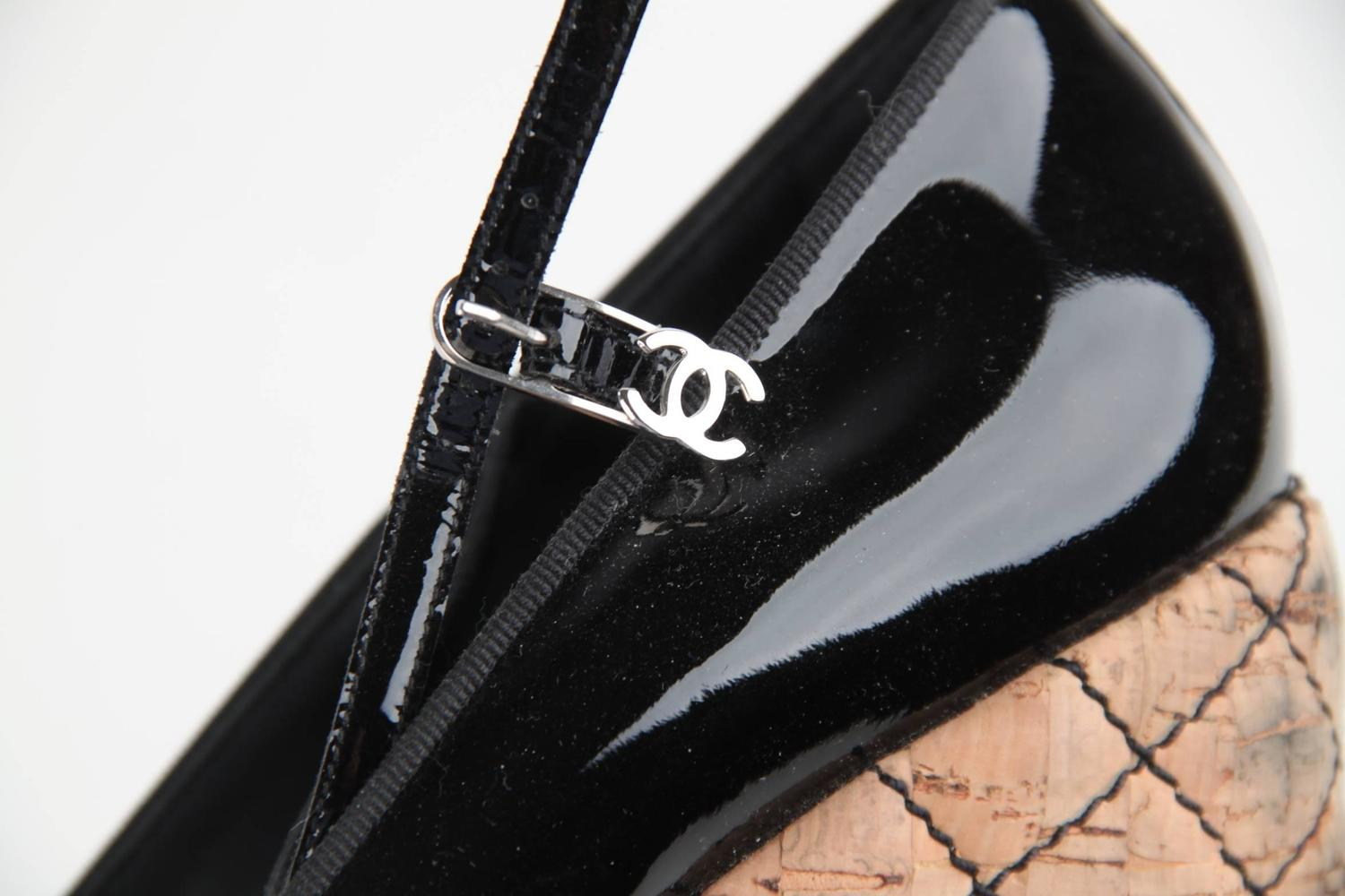 chanel black patent leather wedge shoes closed toe cork