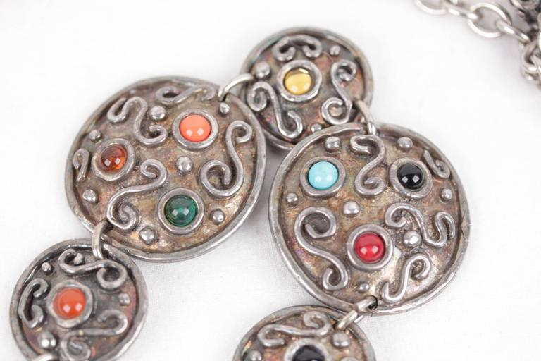 EDOUARD RAMBAUD Vintage 1980s Silver Metal Disk BELT w/ Glass Cabochons For Sale 3