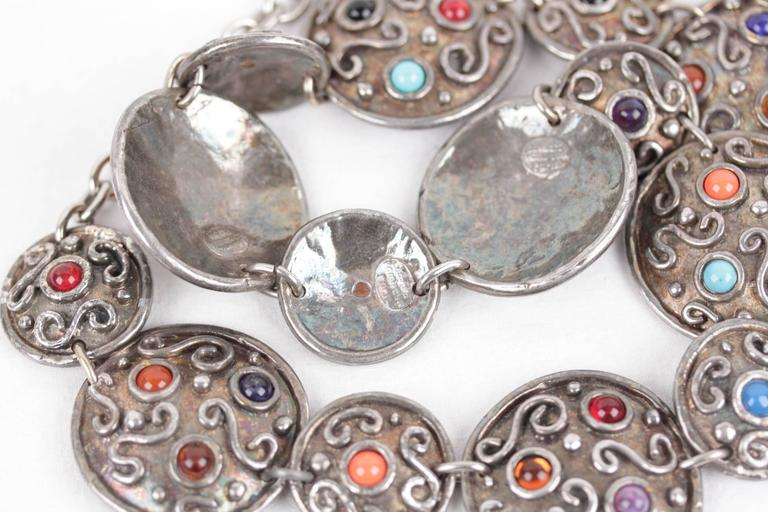 EDOUARD RAMBAUD Vintage 1980s Silver Metal Disk BELT w/ Glass Cabochons For Sale 1