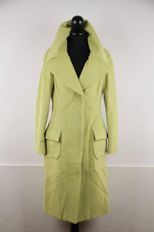 VERSACE  Lime Green Wool Blend COAT Wide Lapels 2005 Fall Collection Sz 40 IT 5