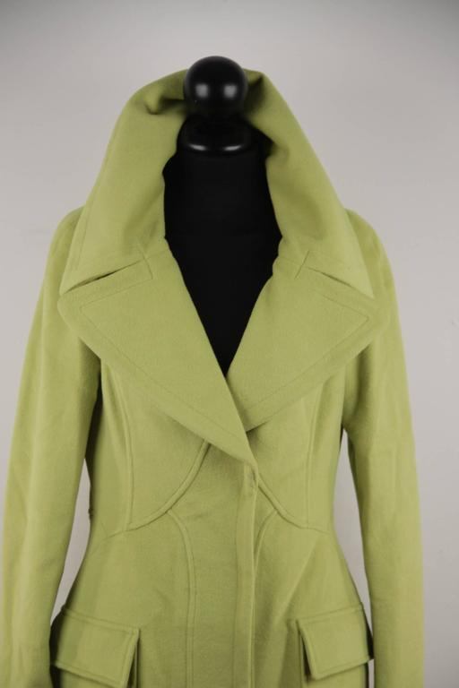 VERSACE  Lime Green Wool Blend COAT Wide Lapels 2005 Fall Collection Sz 40 IT 6