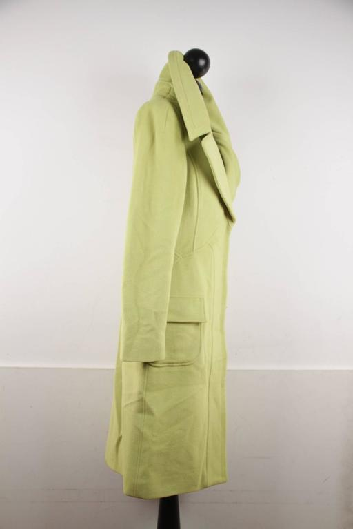 VERSACE  Lime Green Wool Blend COAT Wide Lapels 2005 Fall Collection Sz 40 IT 2