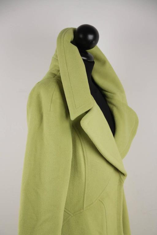 VERSACE  Lime Green Wool Blend COAT Wide Lapels 2005 Fall Collection Sz 40 IT 3
