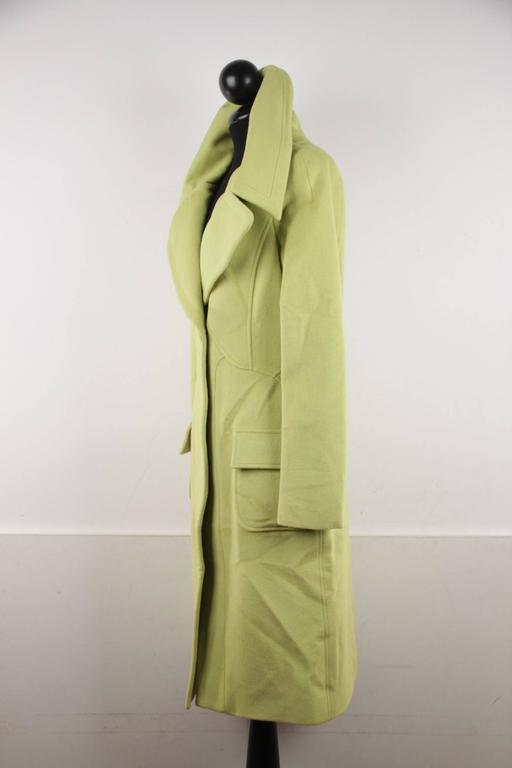 VERSACE  Lime Green Wool Blend COAT Wide Lapels 2005 Fall Collection Sz 40 IT 4