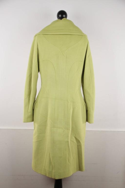 VERSACE  Lime Green Wool Blend COAT Wide Lapels 2005 Fall Collection Sz 40 IT 7