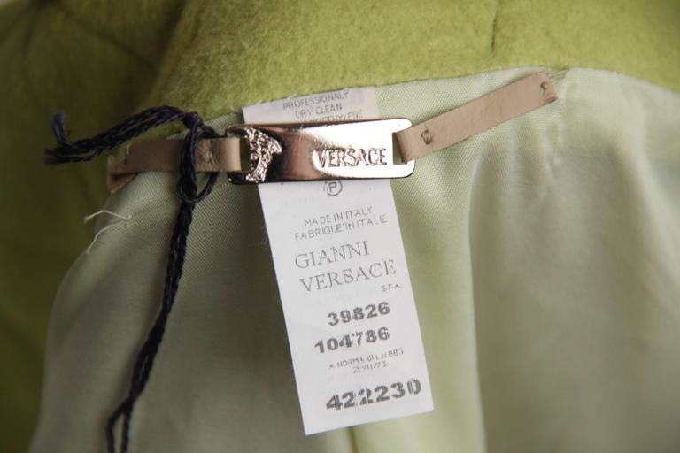 VERSACE  Lime Green Wool Blend COAT Wide Lapels 2005 Fall Collection Sz 40 IT 8