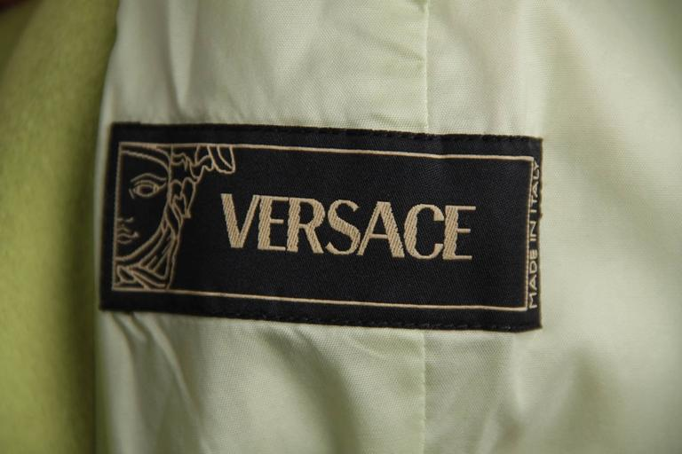 VERSACE  Lime Green Wool Blend COAT Wide Lapels 2005 Fall Collection Sz 40 IT 9