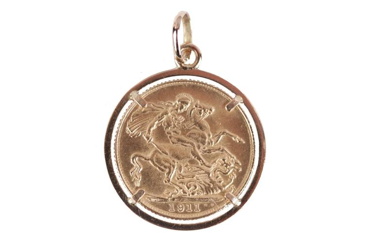 Antique vintage 22k gold full sovereign coin pendant king george v antique vintage 22k gold full sovereign coin pendant king george v 1911 1 aloadofball Images