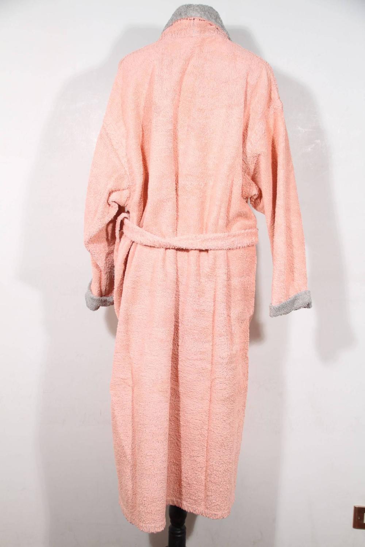 hermes pink terry cloth cotton bathrobe wrap robe hooded