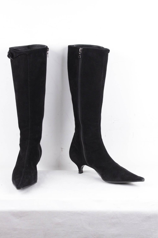 prada italian black suede knee high heeled low heels boots