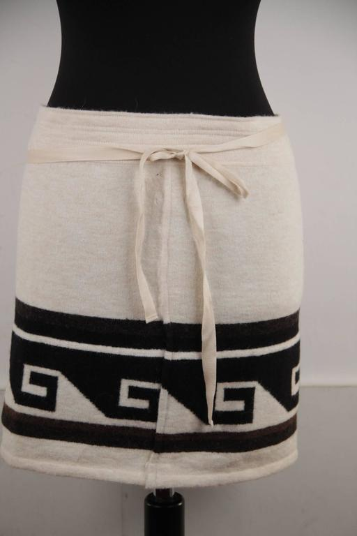 Brown ISABEL MARANT Ivory SIENNA Knitted WRAP MINI SKIRT w/ MEANDER Design Sz 36 FR For Sale