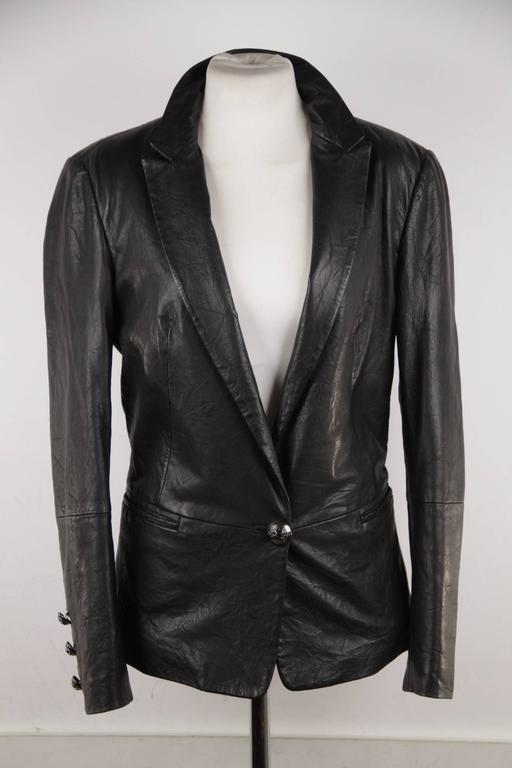 FAITH CONNEXION Black Crease Effect LEATHER BLAZER Jacket SIZE S  In Good Condition For Sale In Rome, Rome