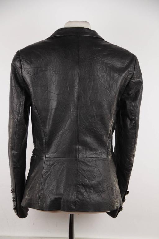 FAITH CONNEXION Black Crease Effect LEATHER BLAZER Jacket SIZE S  For Sale 3