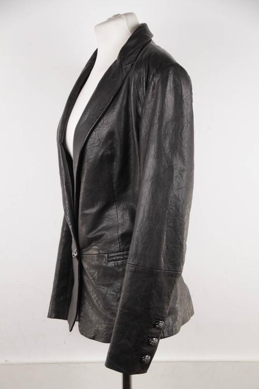 FAITH CONNEXION Black Crease Effect LEATHER BLAZER Jacket SIZE S  For Sale 2